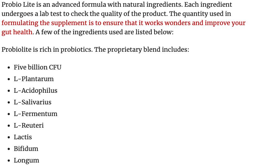 Probio Lite Ingredients